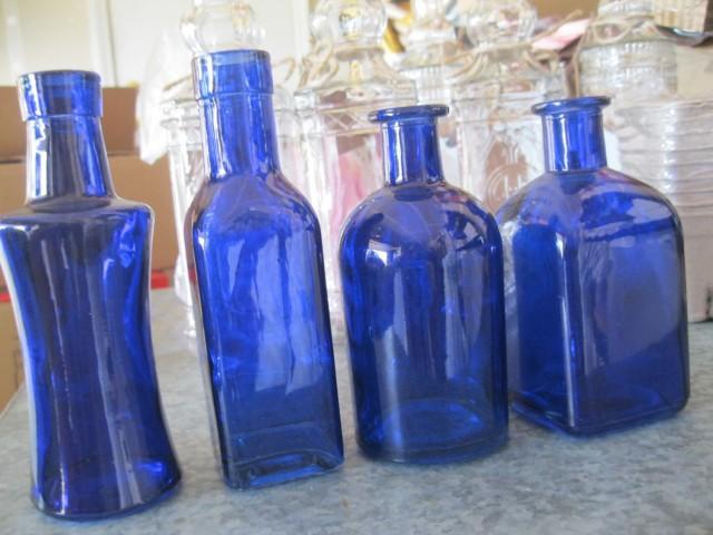 4 cobalt blue decorative colored glass bottles floral for Colored bottles for decorations