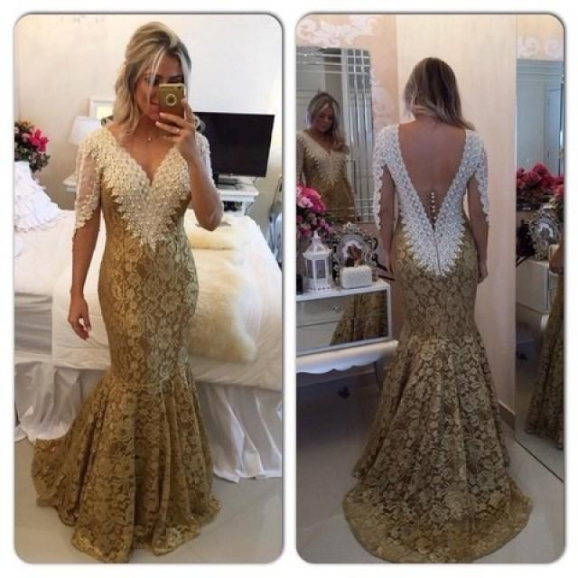 wedding photo - Honorable Long Prom Dress - V-Neck Lace Women's Party Gown from Dressywomen