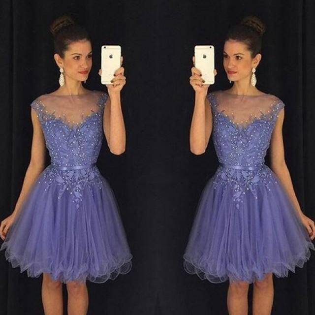 wedding photo - Cheap Bateau Cap Sleeves Short Homecoming Dress with Appliques Under 100 from Dressywomen