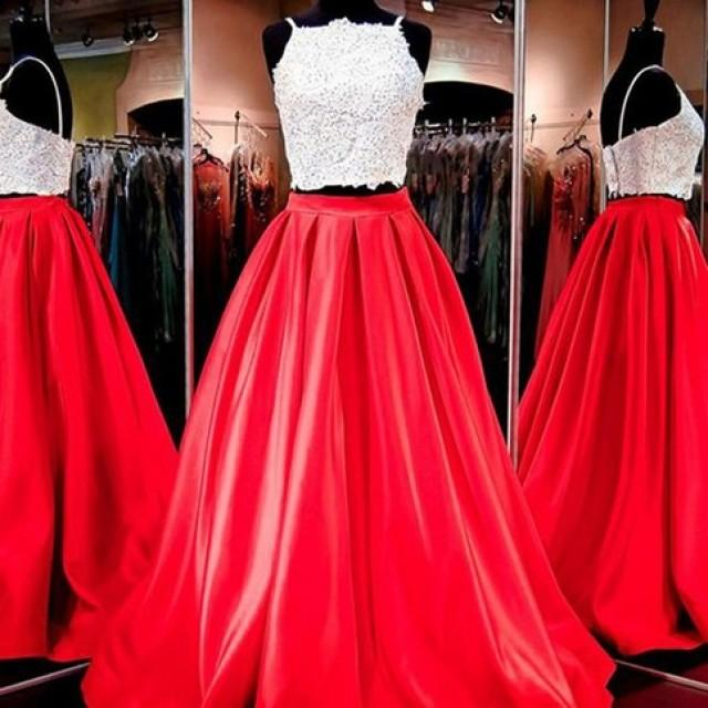 wedding photo - Two Piece Red Homecoming Dress -Floor-Length Square Neck Open Back Appliques from Dressywomen