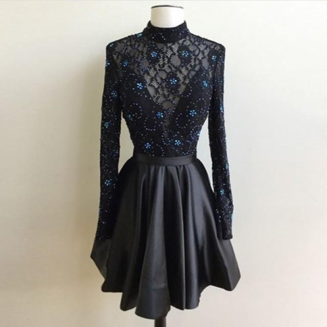 wedding photo - Generous High Neck Long Sleeves Open Back Short Black Homecoming Dress with Beading Lace from Dressywomen