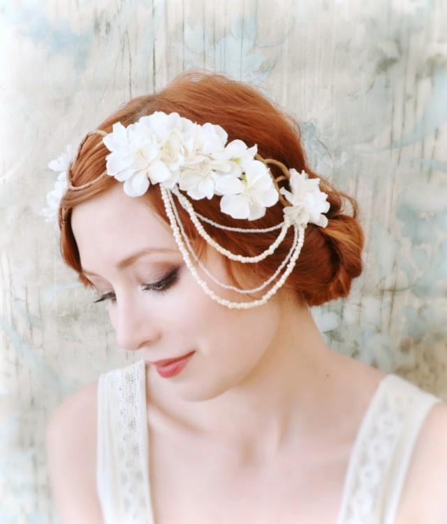 Bridal Hair Accessories Boho : White flower headpiece bridal hair crown wedding wreath