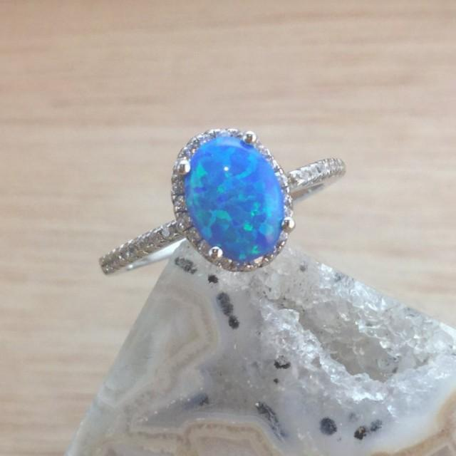 wedding photo - Opal Ring Sterling Silver size 4 5 6 7 8 9 10 - Blue Opal Rings - Promise Ring - Prom Ring - Engagement Ring - Gift 4 Her - Girlfriend Gift