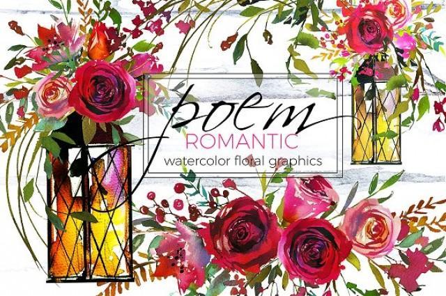 wedding photo - Romantic Poem Watercolor Floral Set