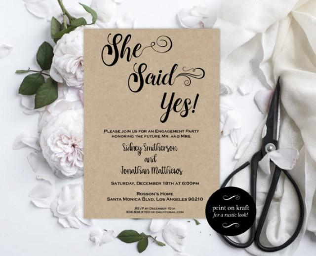 wedding photo - Engagement Party Invitation - Engagement Invite - She Said Yes invitation - Rustic Engagement Invitation Downloadable Wedding