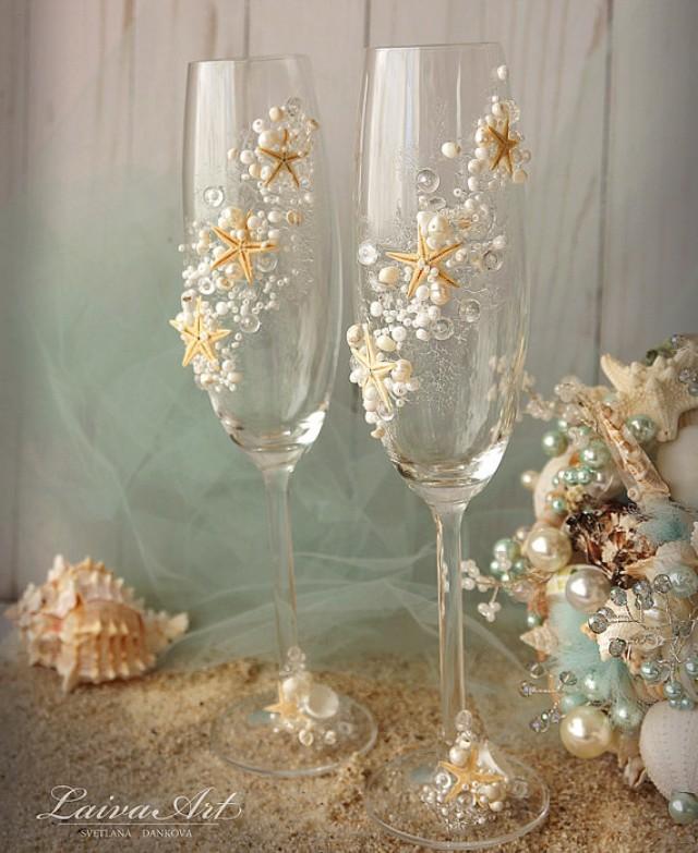 wedding photo - Beach Wedding Champagne Flutes Wedding Champagne Glasses Wedding Toasting Flutes Set of 2