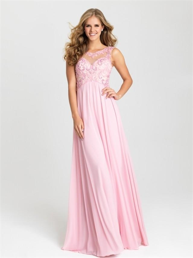 wedding photo - Chic Sheath With High-necked Sleeveless Tulel Pink Prom Dress PD3184