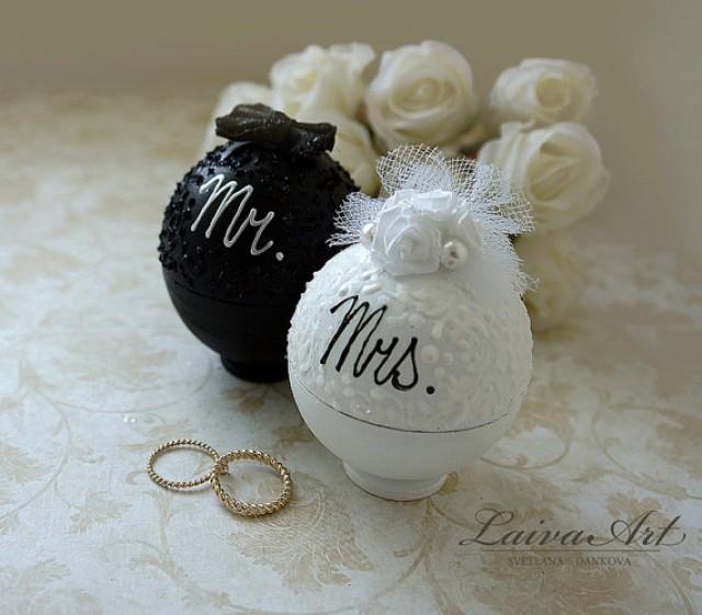 wedding photo - Wedding Ring Bearer Box Wedding Ring Box Bride and Groom White and Black Set of 2