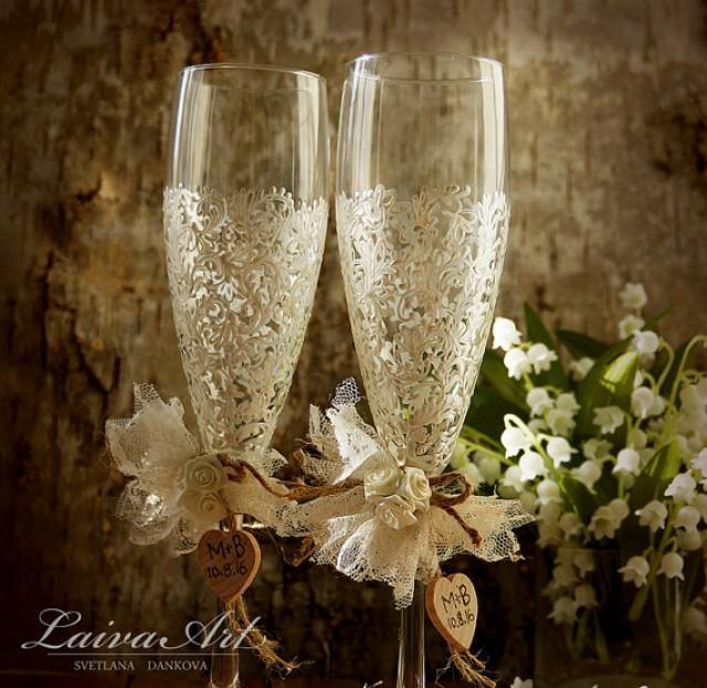 wedding photo - Rustic Wedding Champagne Flutes Wedding Champagne Glasses Wedding Toasting Flutes Wedding