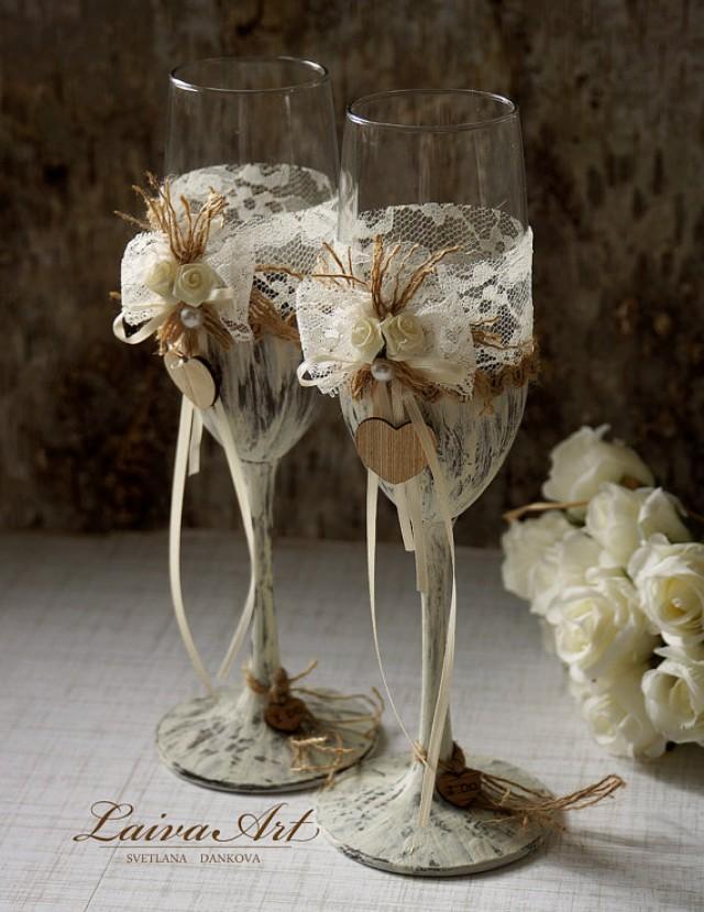 wedding photo - Wedding Champagne Flutes Toasting Glasses Rustic Toasting Flutes Wedding Champagne Flutes Bride and Groom Wedding Glasses