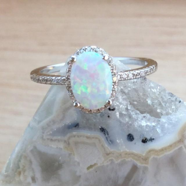 wedding photo - Opal Ring Sterling Silver size 4 5 6 7 8 9 10 11 12 October Birthstone Jewelry Promise Ring Engagement Ring Sparkly Fiery Opal Jewellery