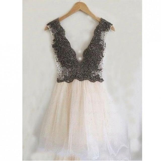 wedding photo - Hot-Selling Short/Mini Deep V-neck Homecoming Dresses with Beaded from Dressywomen