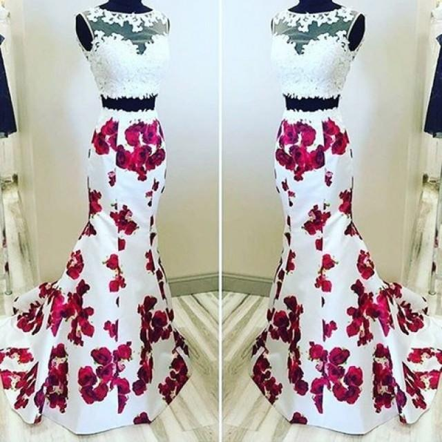 wedding photo - Elegant Two Piece Bateau Homecoming Dresses with Lace Printed Flowers from Dressywomen