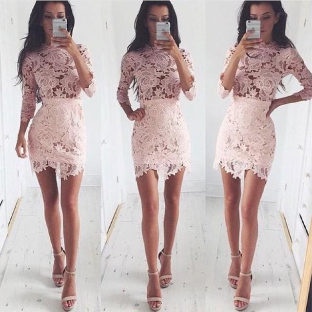 wedding photo - Fancy Scalloped Neck 3/4 Sleeves Pink Sheath Lace Homecoming Dress Under 100 from Dressywomen