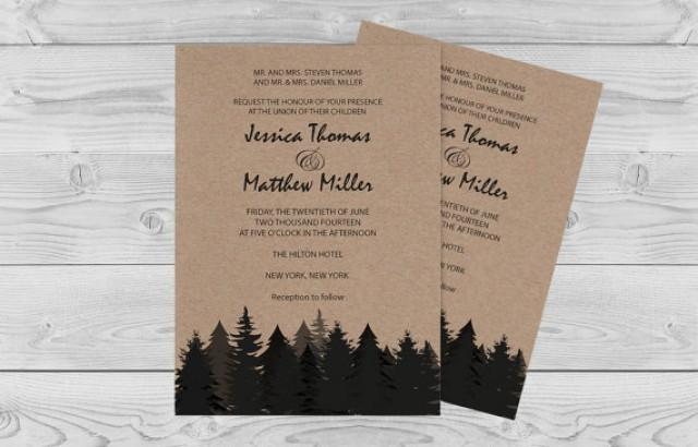 wedding photo - Winter Rustic Wedding Invitation Template - Pine Trees on Kraft Paper - Printable Invitation Editable PDF Template Download - DIY Print You