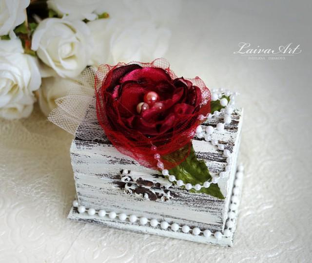 wedding photo - Personalized Wedding Ring Bearer Pillow Box Burgundy Wedding Ring Pillow Box Rustic Ring Bearer Box Vintage Wedding