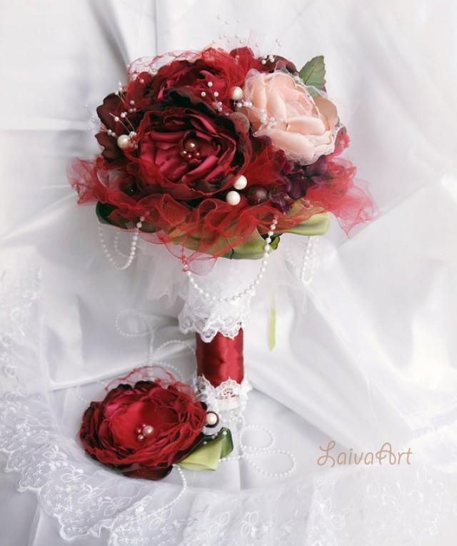 wedding photo - Wedding Fabric Flower Bouquet Burgundy Wedding Bridal Brooch Bouquet Wedding Boutonniere Bohemian Wedding