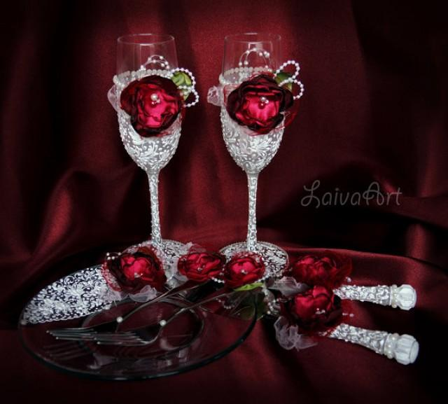 wedding photo - Wedding / Champagne Flutes / Cake Server Set & Knife / Burgundy / Berry / Christmas / Winter / Wedding