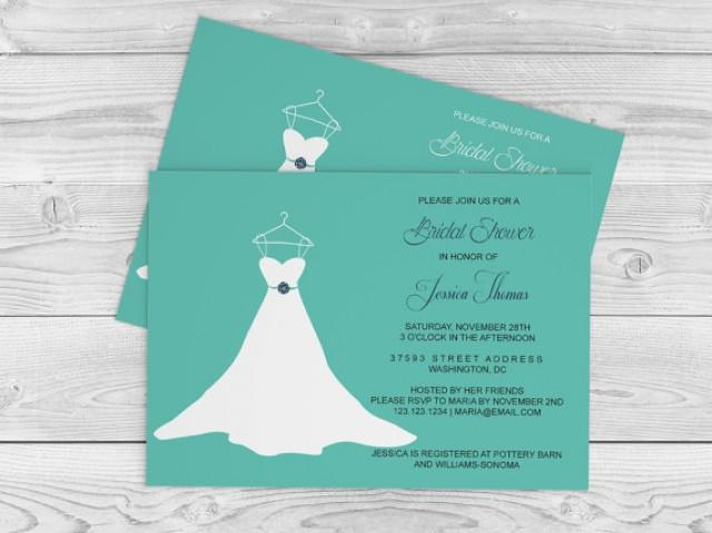 wedding photo - Wedding Gown Bridal Shower Invitation Template - 5x7 Teal & Navy Wedding Dress Bridal Shower Editable PDF Templates - DIY You Print