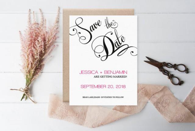 wedding photo - Calligraphy Save the Date Template - Black Calligraphy Handlettered Wedding Save the Date Printable Template - Editable PDF - DIY You Print