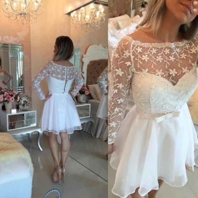 wedding photo - Awesome Bateau Long Sleeves Short White Organza Homecoming Dress with Bowknot Lace from Dressywomen