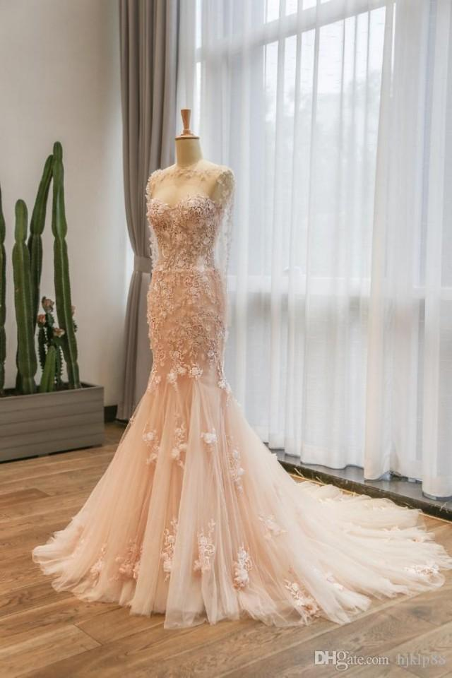 Elegant mermaid lace wedding dresses pink wedding gown for Wedding dress with red flowers
