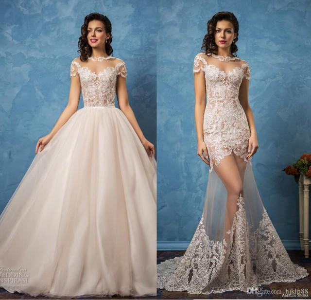 Vintage amelia sposa 2017 sexy wedding dresses detachable for See through lace wedding dress