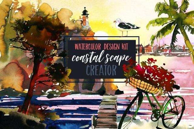 wedding photo - Watercolor Coastal Scape Creator