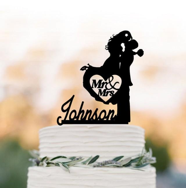 wedding photo - Personalized wedding Cake topper mr and mrs, bride and groom silhouette cake topper monogram, cake topper letter, custom cake topper name