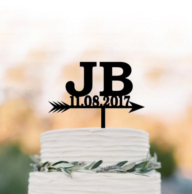 wedding photo - initial wedding Cake topper with date, cake topper birthday, cake topper letter for anniversary, personalized cake topper letter and date