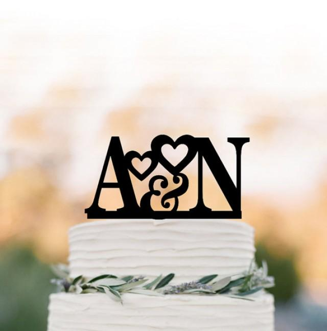 wedding photo - Personalized wedding Cake topper initial, cake topper monogram, cake topper with letter for birthday, wedding cake topper custom letter