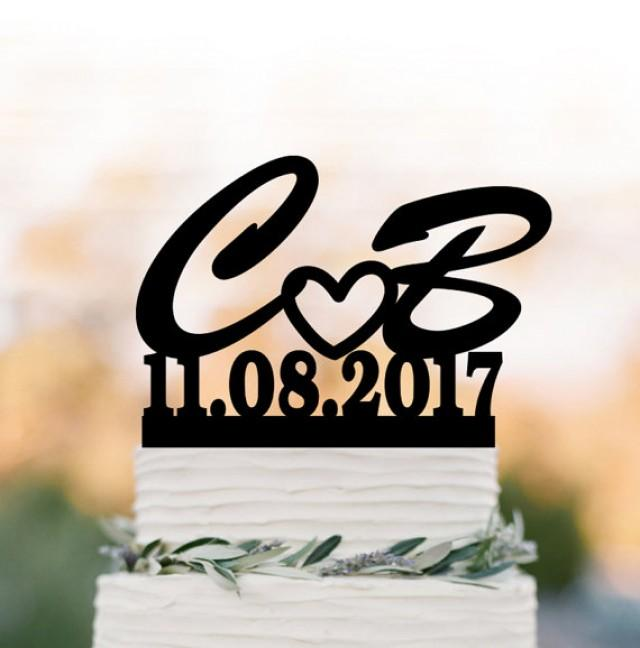 wedding photo - personalized cake topper letter and date initial wedding Cake topper with date, cake topper birthday, cake topper letter for anniversary,