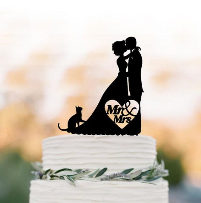 wedding photo - Bride and groom silhouette cake topper for wedding, cat cake topper, cake topper for birthday, funny wedding cake topper acrylic