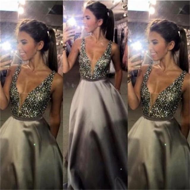 wedding photo - Trendy Silver Prom Dress - V Neck Floor Length Beaded with Pockets from Dressywomen