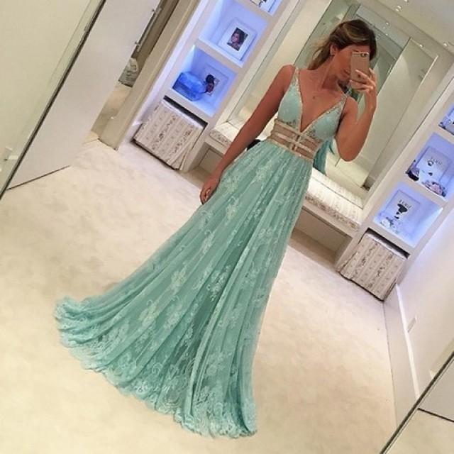 wedding photo - Fabulous Mint Green Prom Dress - Deep V Neck Sleeveless Floor Length Lace with Beading from Dressywomen