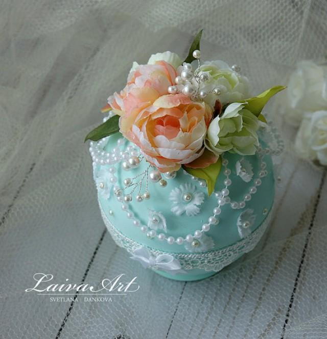 wedding photo - Wedding Ring Bearer Box Beach Wedding Mint Wedding Vintage Wdding Wedding Ring Holder