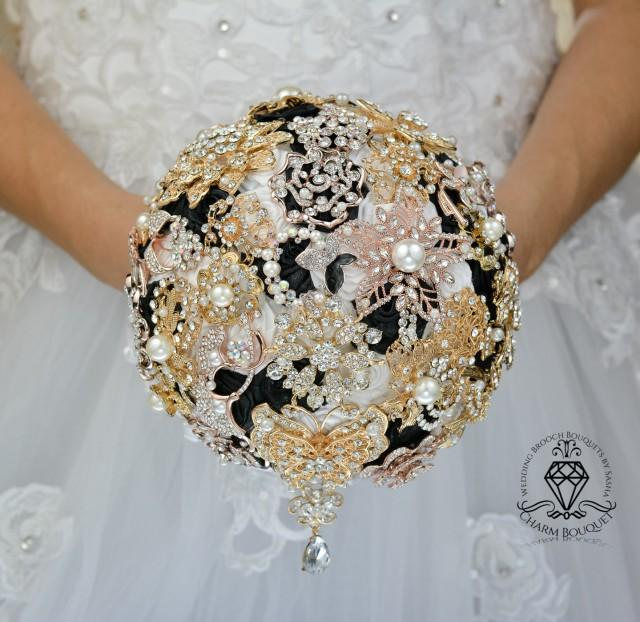 White And Gold Wedding Flowers: Gold Bouquet, Gold Wedding, White Bouquet, Black Bouquet