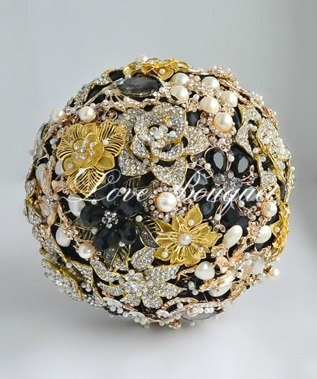 Egypt Style Brooch Bouquet Black And Gold Wedding Brooch Bouquet Bridal Bouquet Jewelry