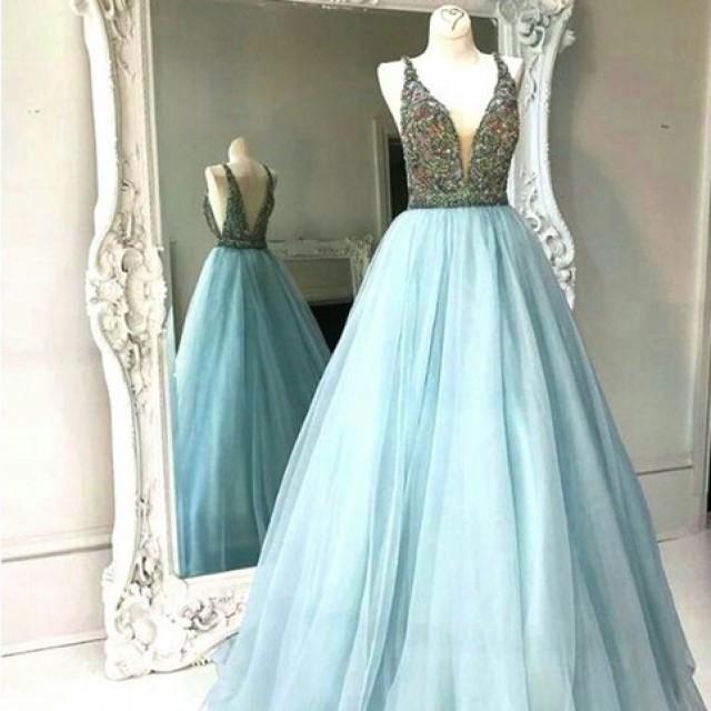 wedding photo - Modern A Line Prom Dress - V Neck Sleeveless Floor Length Backless with Beading from Dressywomen