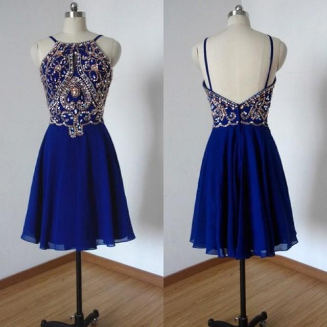 wedding photo - Hot Sale Spaghetti Straps Short Royal Blue Homecoming Dresses Beaded Rhinestonesliques Under 100 from Dressywomen