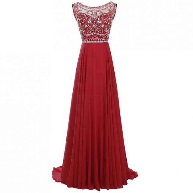 wedding photo - Decent Red Prom Dress - Bateau Sleeveless Sweep Train Pleated Beading with Rhinestones from Dressywomen