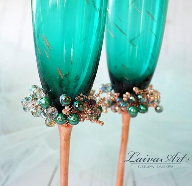 wedding photo - Wedding Flutes Wedding Champagne Glasses Toasting Flutes Champagne flutes Emerald Teal Green Wedding Champagne Flutes