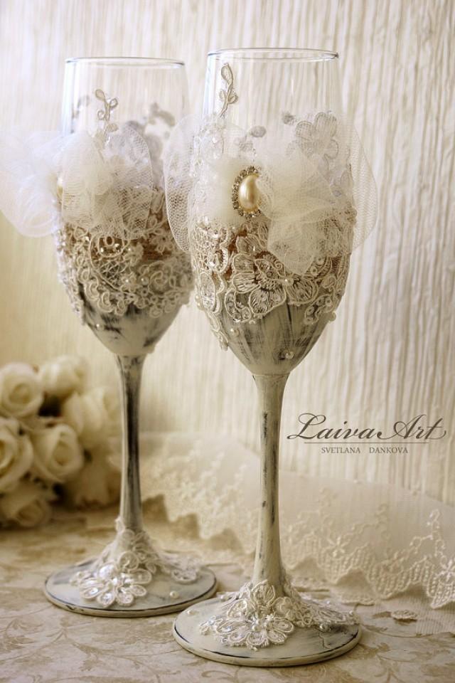 wedding photo - Rustic Wedding Champagne Flutes Wedding Champagne Glasses Lace Wedding Vintage Wedding