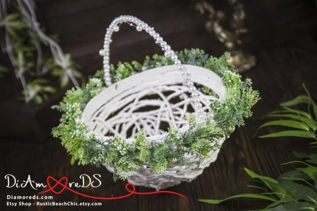 wedding photo - Green and White Garden Girl Basket