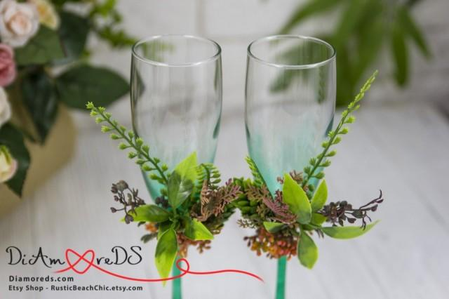 wedding photo - Green Bouquet Toasting Flutes