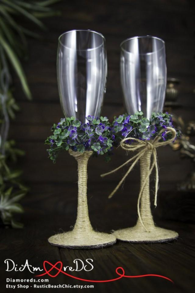 wedding photo - Floral Greenery Toasting Flutes