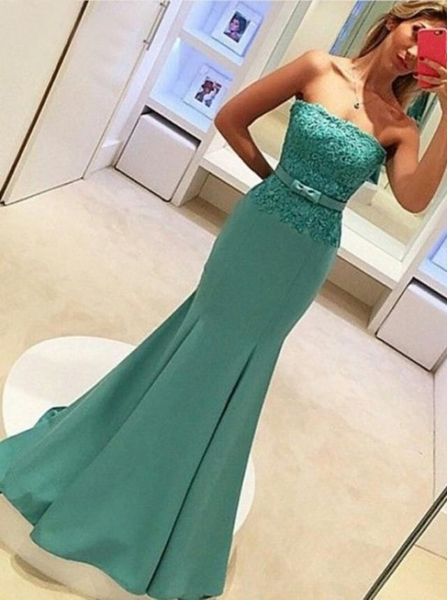 wedding photo - Decent Strapless Mermaid Sweep Train Prom Dress With Lace Top Bowknot on Luulla