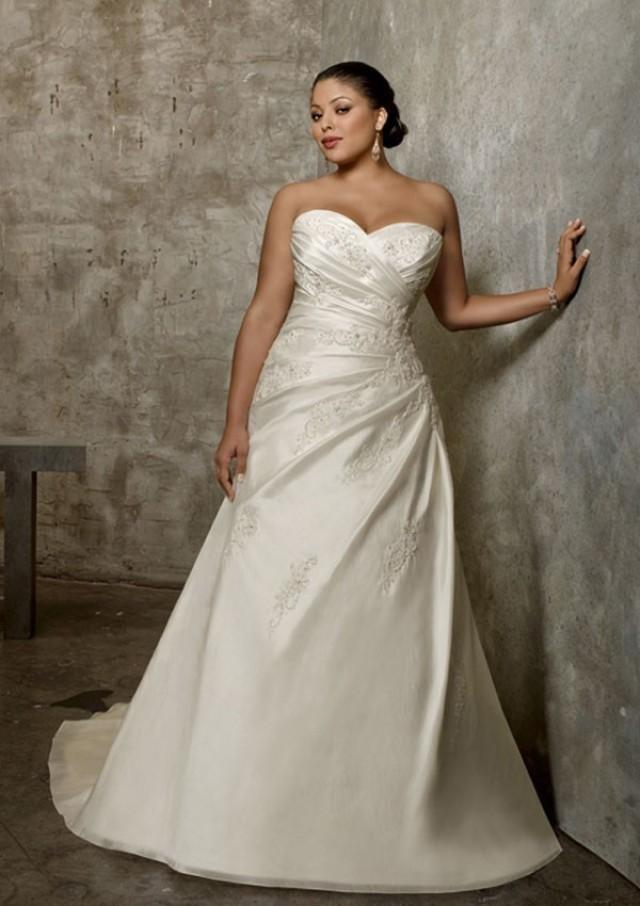 wedding photo - A-Line Strapless Sweetheart Neck Taffeta Plus Size Wedding Dress