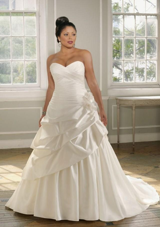 wedding photo - A-Line Strapless Sweetheart Neck Satin Plus Size Wedding Dress