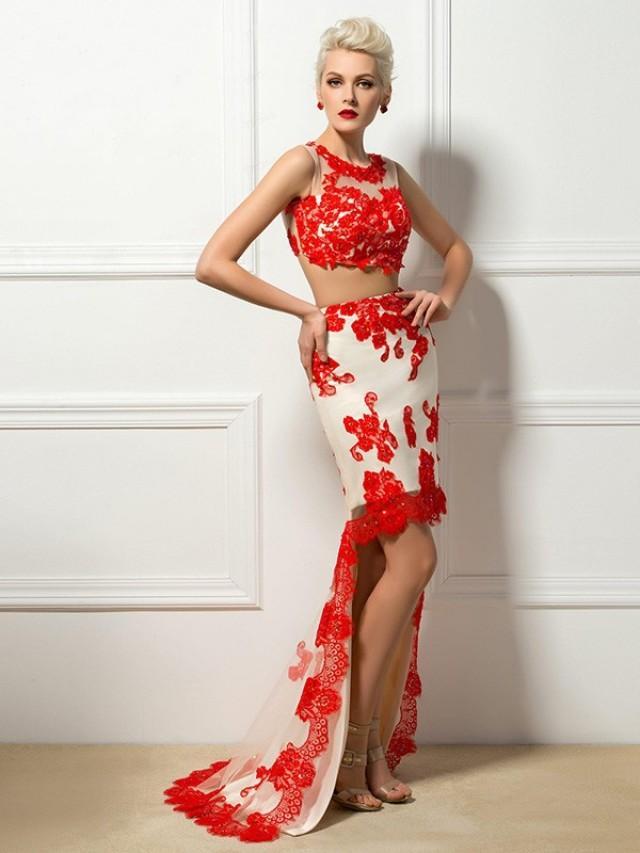 wedding photo - Sheath/Column Scoop Sleeveless Satin Applique Asymmetrical Two Piece Dress